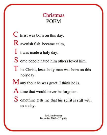 Christmas Acrostic Poem Template